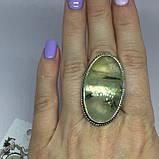 Пренит кольцо 17,4 размер натуральный пренит в серебре, фото 2