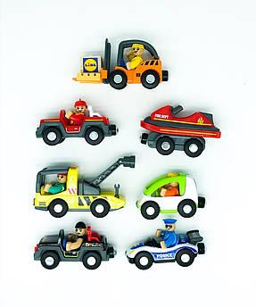 Великий набір машинок для дерев'яної залізниці PlayTive, Ikea Lillabo, Brio, ecotoys, Viga toys