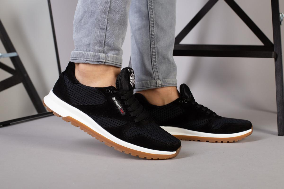 Кроссовки мужские замшевые с вставками сетки черные