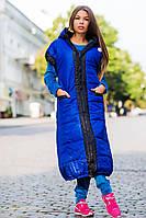 """Длинное женское пальто-жилет на синтепоне """"Moncler"""" в расцветках"""