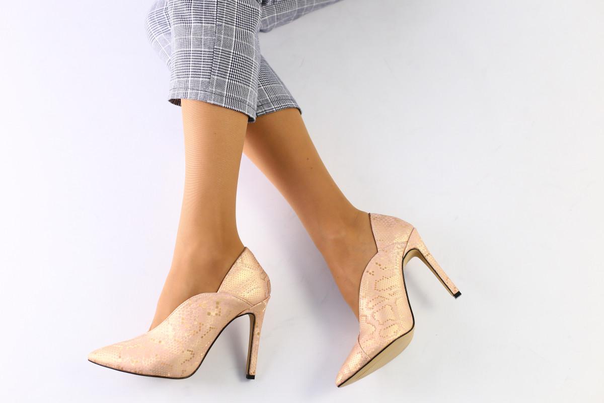 Туфли женские кожа с сатиновым напылением пудра перламутр 36