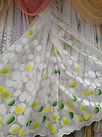 Гардина короткая белая с цветным узором высота 1.65 м., фото 1