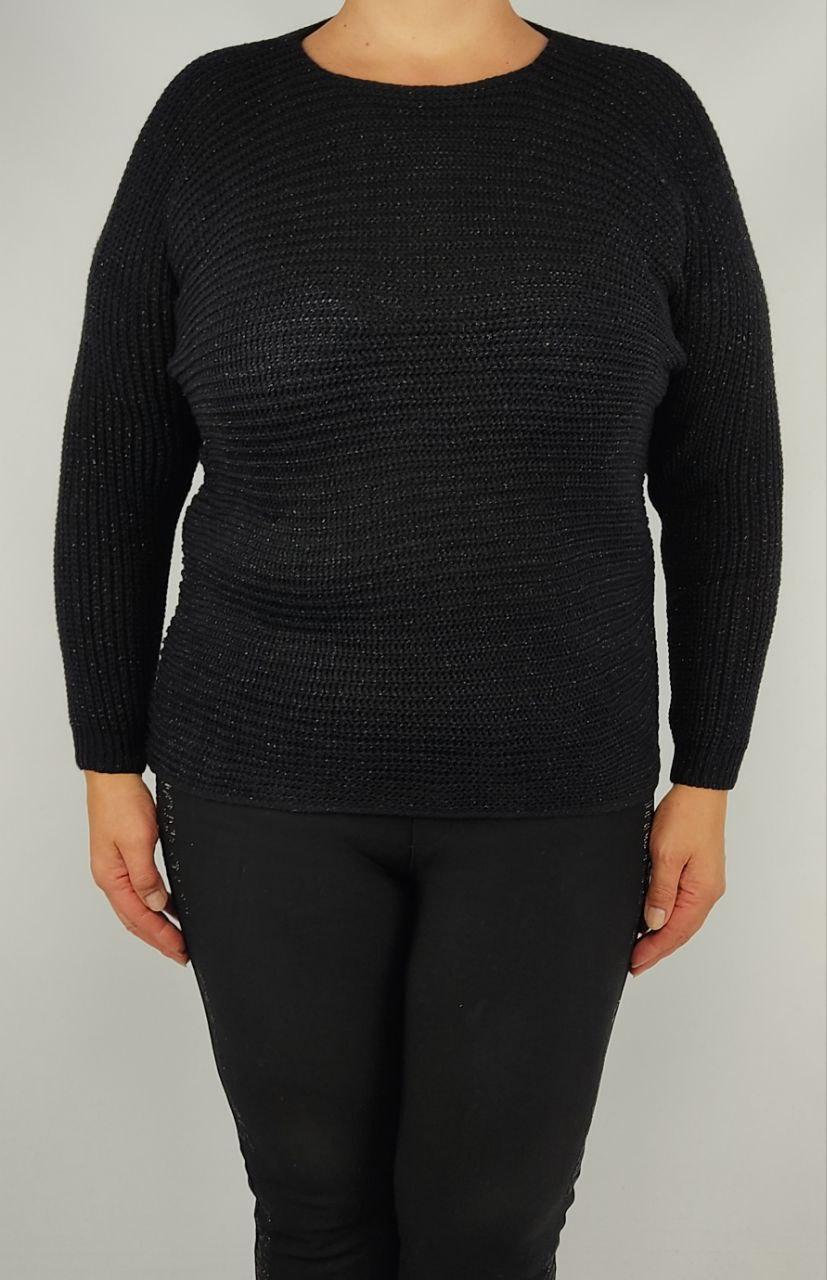 Свитер женский черный SV0106, шерсть акрил люрекс, универсальный 50-56