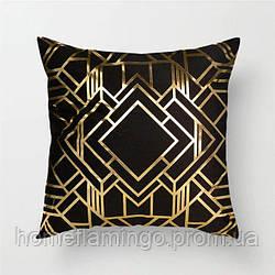 Декоративная подушка велюровая черная с золотистими геометрическими элементами 45х45 см
