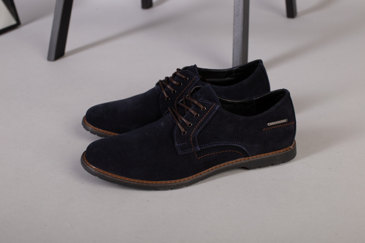 Туфли мужские замшевые синие на шнурках