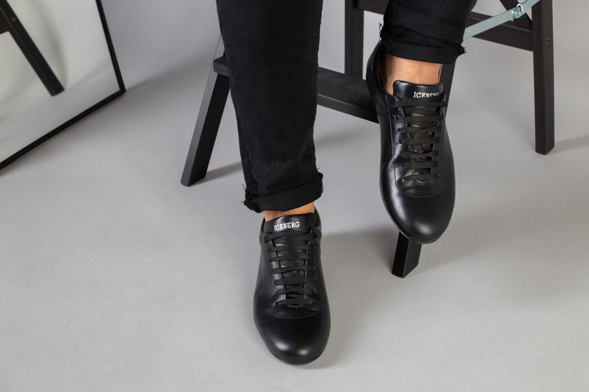 Туфли мужские черные кожаные на шнурках 39