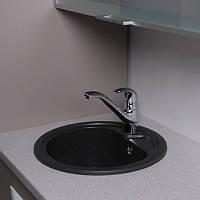 Круглая гранитная кухонная мойка Fancy Marble Nevada, размер 450х450х210 мм
