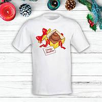 """Футболка с новогодним принтом Подарок """"Merry Cristmas"""" Push IT S, Белый"""