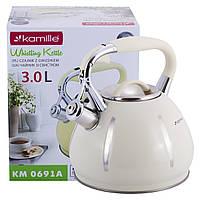 Чайник Kamille 3л из нержавеющей стали со свистком KM-0691A