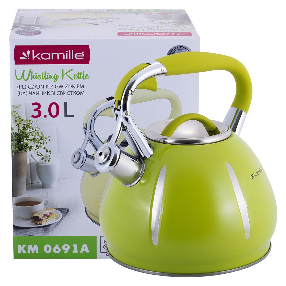 Чайник Kamille Зеленый 3л из нержавеющей стали со свистком KM-0691AZL