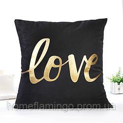 """Декоративная подушка велюровая черная с золотистими геометрическими элементами """"Love"""" 45х45 см"""