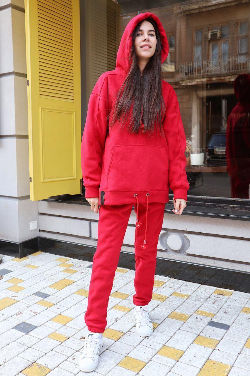 Костюм спортивный красный женский поларфлис