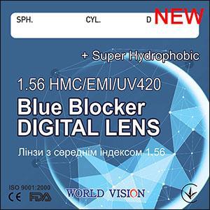 Линзы компьютерные Blue Blocker индекс 1,56 (супергидрофные). Есть астигматика, World Vision (Корея)
