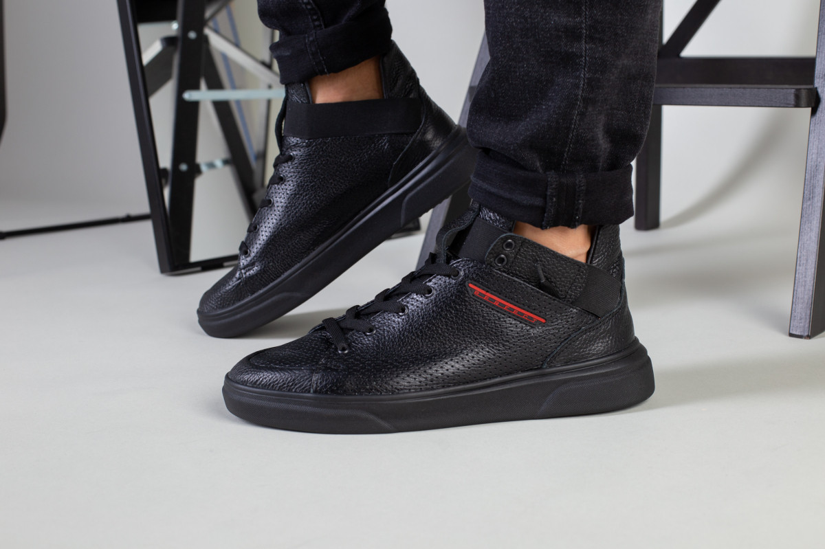 Мужские черные высокие кожаные кроссовки, на шнурках и с резинкой