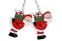 Набор елочных украшений Дед мороз 2 шт 8 см, новогоднее украшение 2021, деревянная елочная игрушка Деде мороз