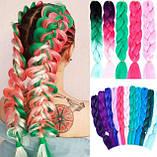 Канекалон різнобарвний в косичках, штучні волосся 58 см, фото 4
