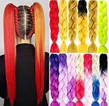 Канекалон різнобарвний в косичках, штучні волосся 58 см, фото 2
