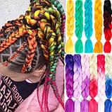 Канекалон різнобарвний в косичках, штучні волосся 58 см, фото 3
