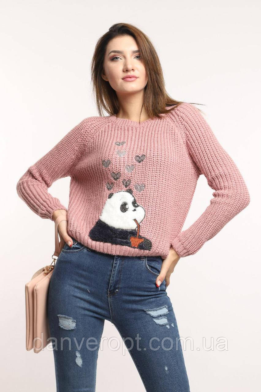 Свитер женский стильный модный PANDA размер универсальный 42-46 купить оптом со склада 7км Одесса