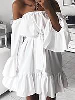 Женское летнее легкое пышное платье с открытыми плечами