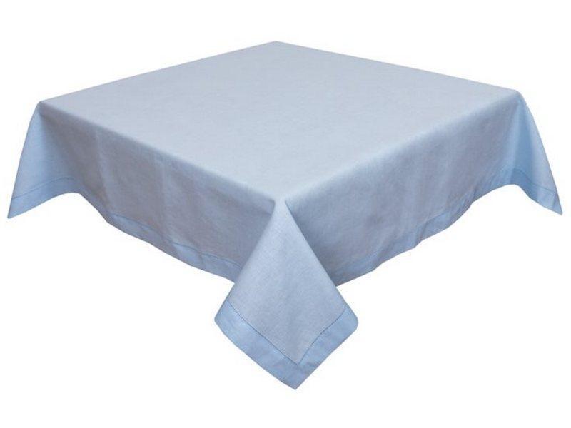 Скатерть льняная на стол голубая 140х240 см