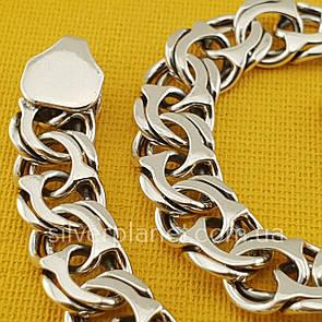 Широкий мужской серебряный браслет 21,5 см. плетение бисмарк