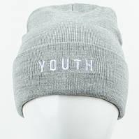 Молодежная шапка Рожки Youth (реплика) светло серый