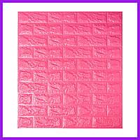 Самоклеющаяся декоративная 3D панель под темно-розовый кирпич 700x770x7мм декоративная 3д панель