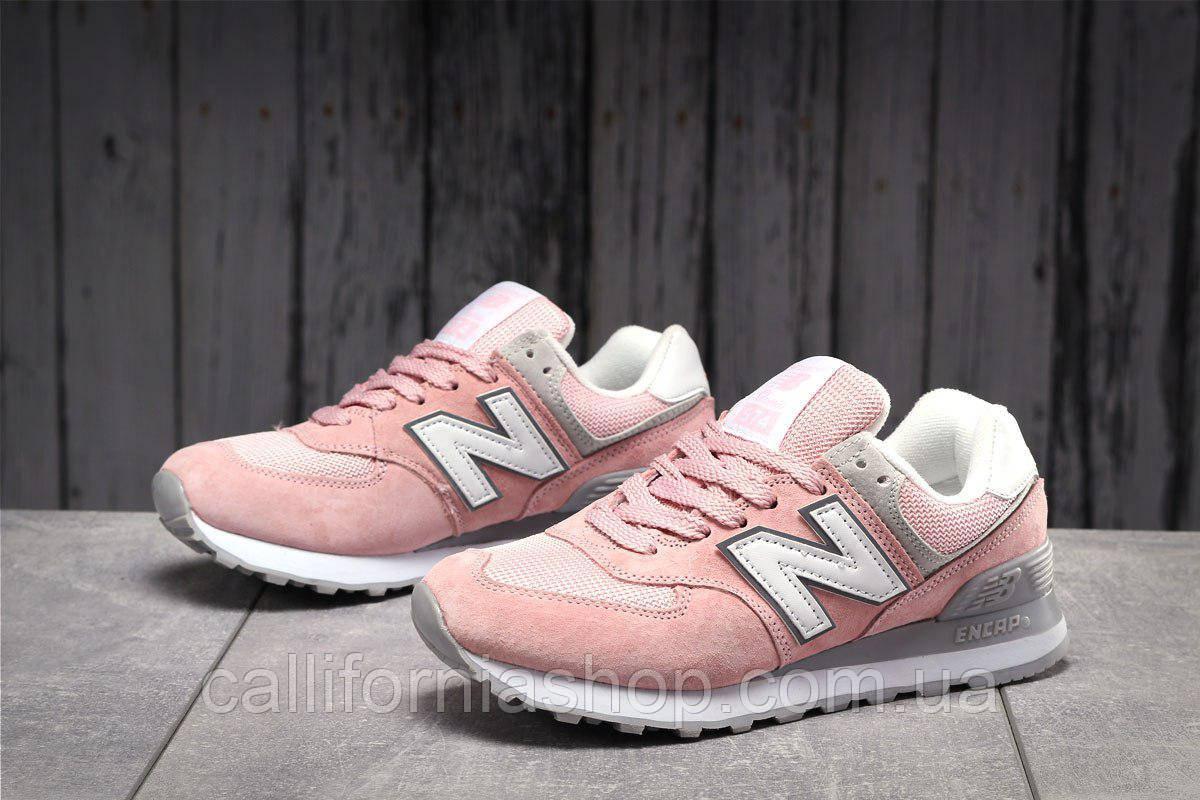 Кроссовки женские замшевые New Balance 574 Нью Беланс 574 цвет розовый демисезонные
