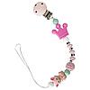 Цепочка силиконовая Корона с вязанным шариком (розовая)