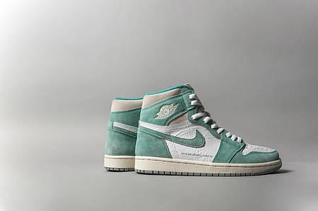 """Кроссовки Nike Air Jordan x Dior 1 Retro High Patent """"Зеленые/Белые"""", фото 2"""