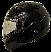 Мотошолом модуляр ZEUS ZS-3100 Metallic Black - чорний глянсовий, шолом трансформер з сонцезахисними окулярами