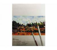 Карандаши цветные Marco Raffine акварельные с кисточкой 36 цветов (7120-36CB)