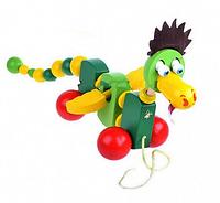 Каталка на шнуровке Дракончик. Развивающая игрушка для малышей.