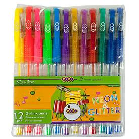 Набір ручок гелевих ZiBi NEON+GLITTER 12 кольорів (ZB.2204-99)