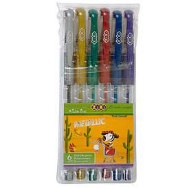 Набір ручок ZiBi 6шт гель METALLIC асорті ZB.2203-99