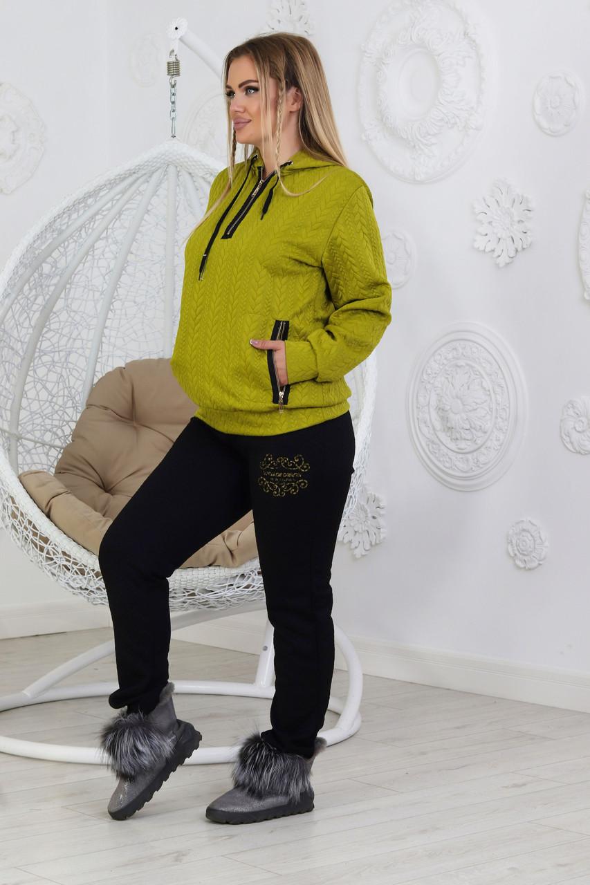 Жіночий повсякденний костюм спортивного стилю з стьобаної трикотажу розміри 50-56
