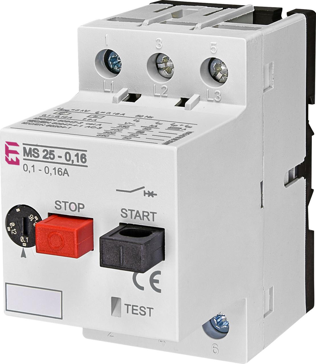 Автоматический выключатель защиты двигателей ETI MS25-10