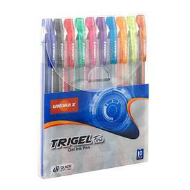 Ручка гелева Unimax Trigel-3 набір 10 цв UX-132-20