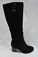 Черные замшевые зимние сапоги Malrostti.Широкое голенище., фото 1