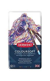 Карандаши цветные Derwent Coloursoft 12шт в метал.пенале (5028252188920)