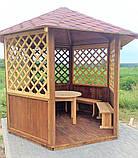 Беседка шестигранная деревянная 5,8 м2  для дачи от производителя Wood Gazebo 009, фото 5