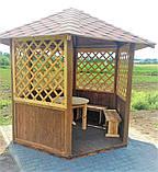 Беседка шестигранная деревянная 5,8 м2  для дачи от производителя Wood Gazebo 009, фото 7