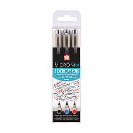Набір ручок PIGMA MICRON PN OFFICE, 3ол (чорний, синій, червоний), Sakura