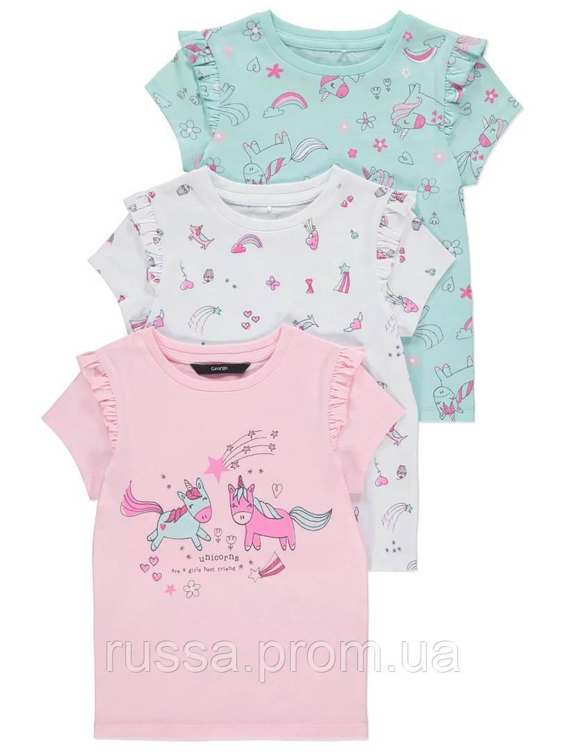 Симпатичные футболочки Единороги Джордж для девочки (поштучно)