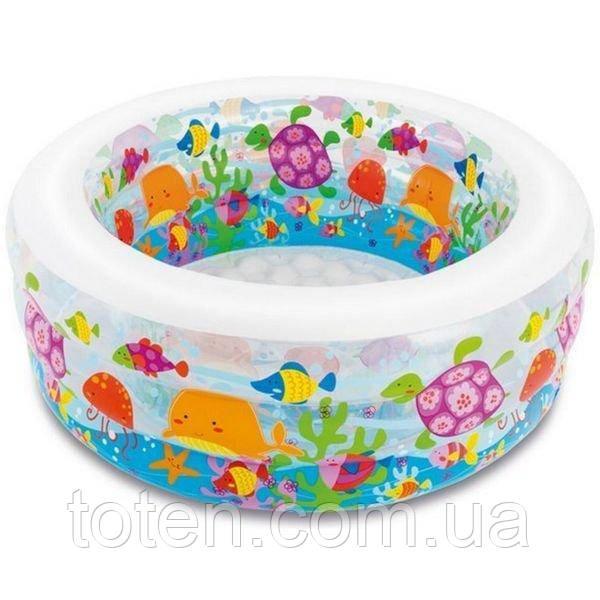 Надувной бассейн детский Аквариум с надувным дном Intex 58480 объем 410л разм 152х56см