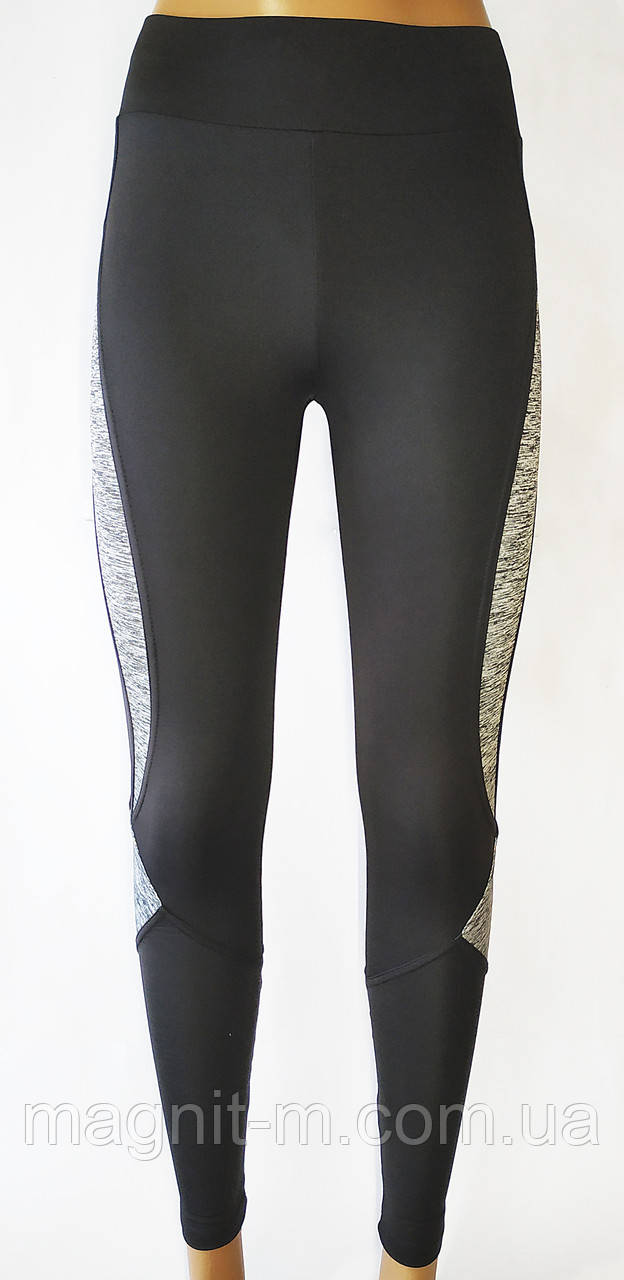 Модные, удобные лосины для фитнеса. Черные с серыми вставками.