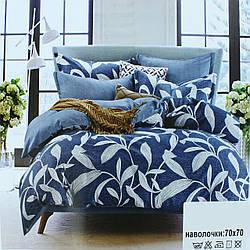 Двуспальный комплект постельного белья Koloco, постельное белье синее Двуспальний 180х220см