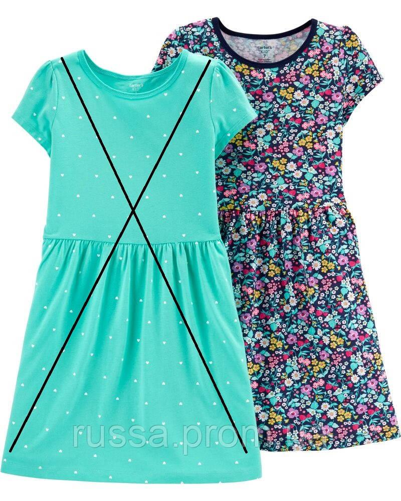Трикотажное летнее платье Картерс для девочки (в цветочки)