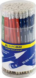 Карандаши графитные Buromax HB ассорти c ласт. BM.8501